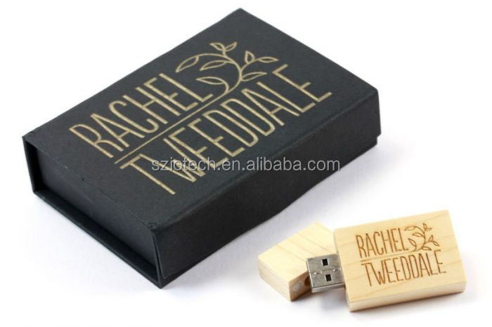 Photography Gift Wood USB Flash Drive with Gift Box, Custom Logo Bamboo USB Stick