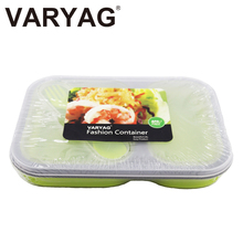 OEM natural 2 compartment high quality heat resistant BPA free take away silicone food packaging container lunch box