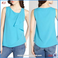 Hot Sale Sexy Womens No Clothes Models Chiffon Style Blouse Ladies Sleeveless Blouses