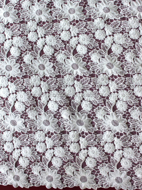 2015 White 3D lace/Guipure Lace Fabric for Clothing