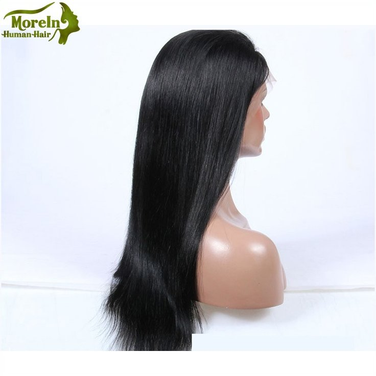 8A grade 190%-200% density baby hair Peruvian human hair full lace wig straight lace frontal wig