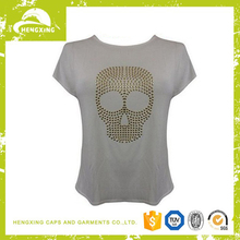 promotion fashion cheap high quality women t-shirt with beads