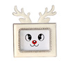 Cute baby sika deer photo frame white metal new design mini square photo frame