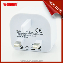 UK Plug-type 5V 2.1A USB Travel Charger suitable for Singapore,Malaysia,HongKong