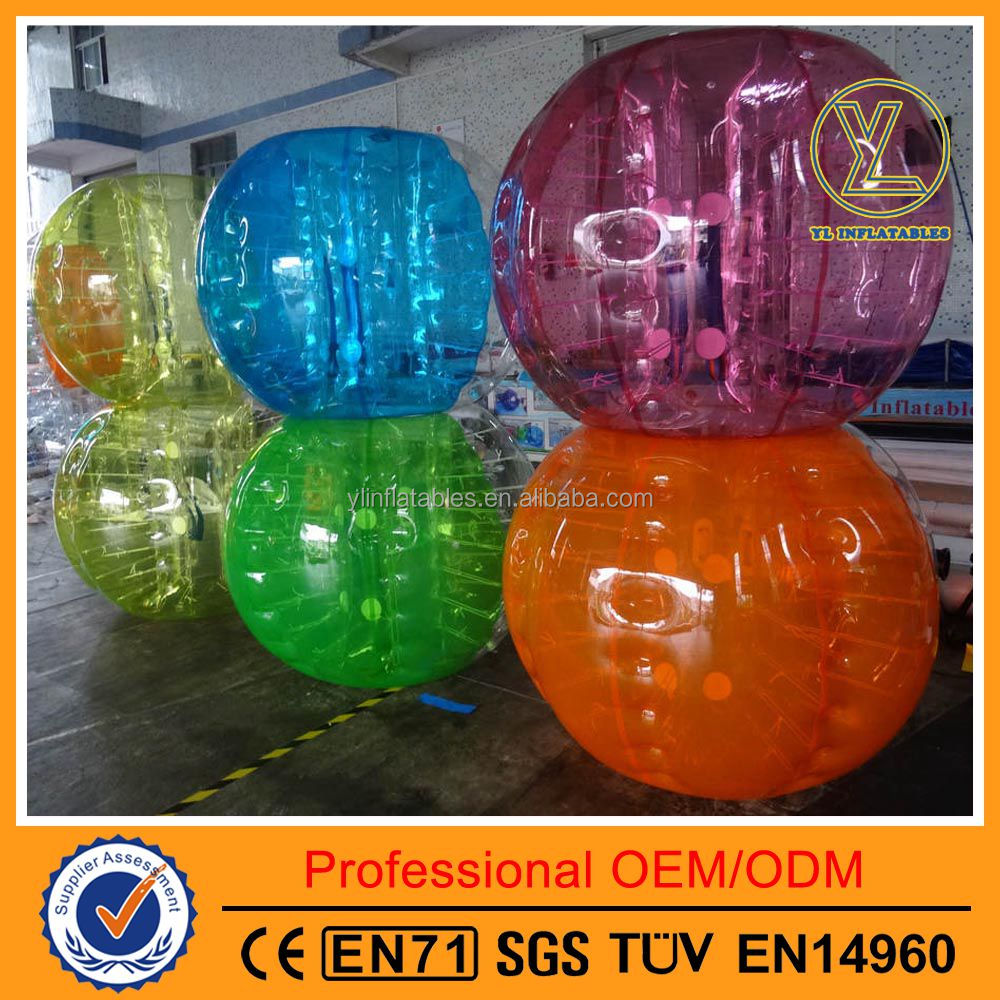 High quality football games colorful inflatable human bubble balls transparent bumper balls PVC/TPU