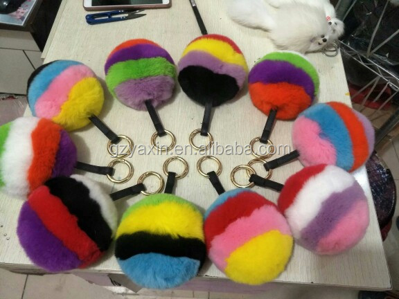 Wholesale Colorful Rainbow Pom pom Fur Balls for Keychain Mobile Phone Case Rabbit Fur Ball