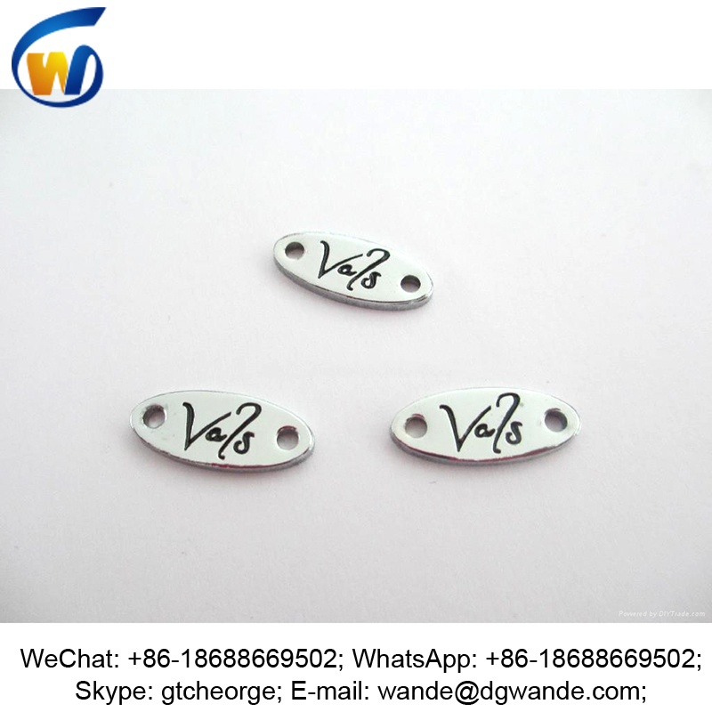 glossy chrome plating custom engrav metal jewelri tag oval
