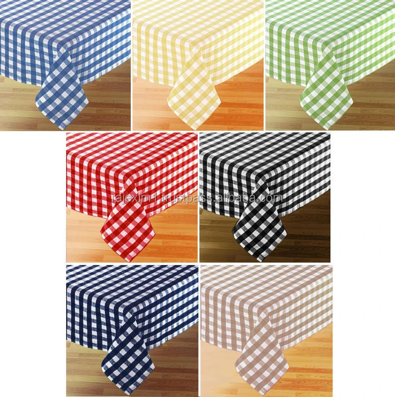 100% Cotton Gingham Check Woven Fabrics For Curtain
