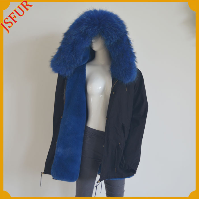 Raccoon Fur Collar Faux Fur Lined Women Winter Jacket Parka