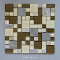 Natural stone grey marble and beige brown glass mosaic bathroom wall tile with cheap price