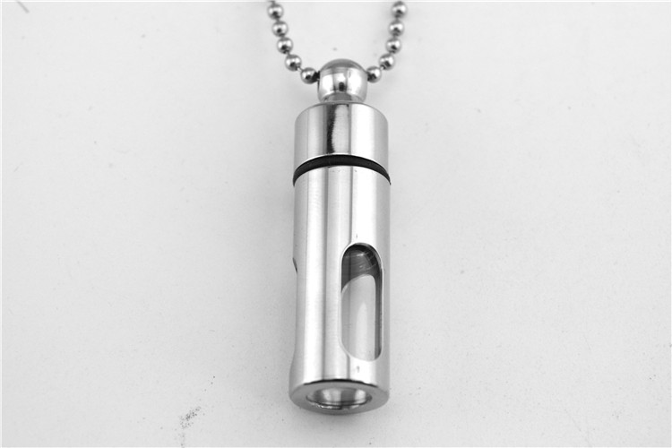 2016 Can open storage bottle necklace glass perfume bottles practical titanium steel jewelry <strong>pendants</strong>