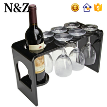 NZ M40 Black Wine Rack With Glass Holder Clear Acrylic Wine Bottle Holder