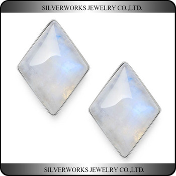 Genuine 925 Sterling Silver Rhombus Moonstone Crystal Stud Earrings Base