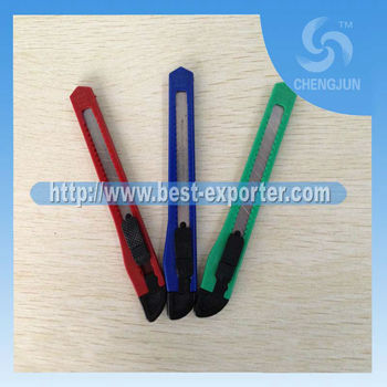 hot sale paper slitting knife,promotion art knife,utility knife with plastic handle P-27