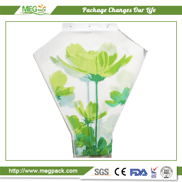 Opp Printed Plastic Flower Sleeve Bag/v-shape plastic flower bag