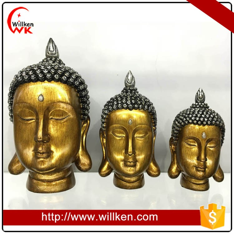 Customized thailand design tabletop decorative buddha head statue