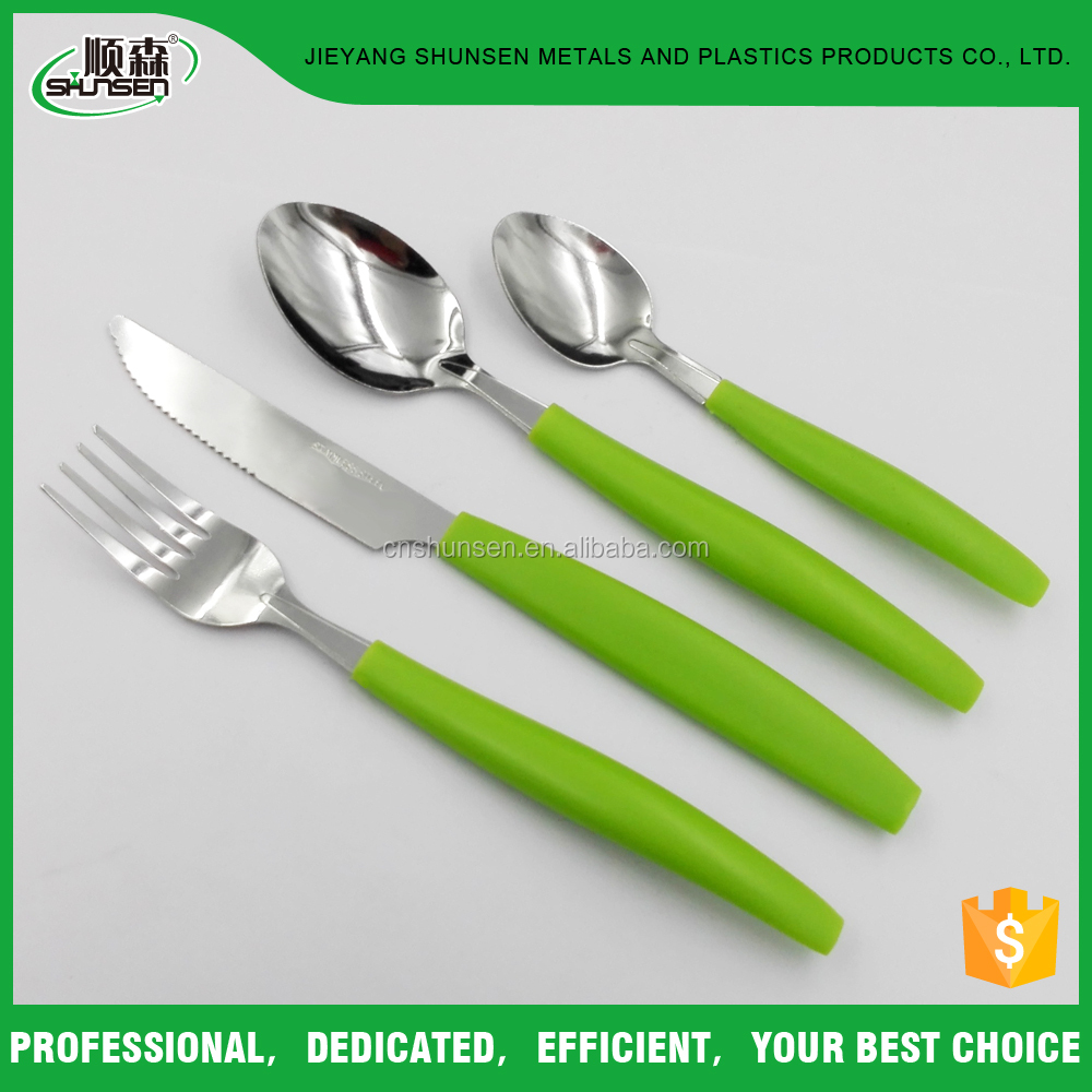 Promotional Gift Green Color Plastic Handle Knife, Fork, Spoon and Tea Spoon