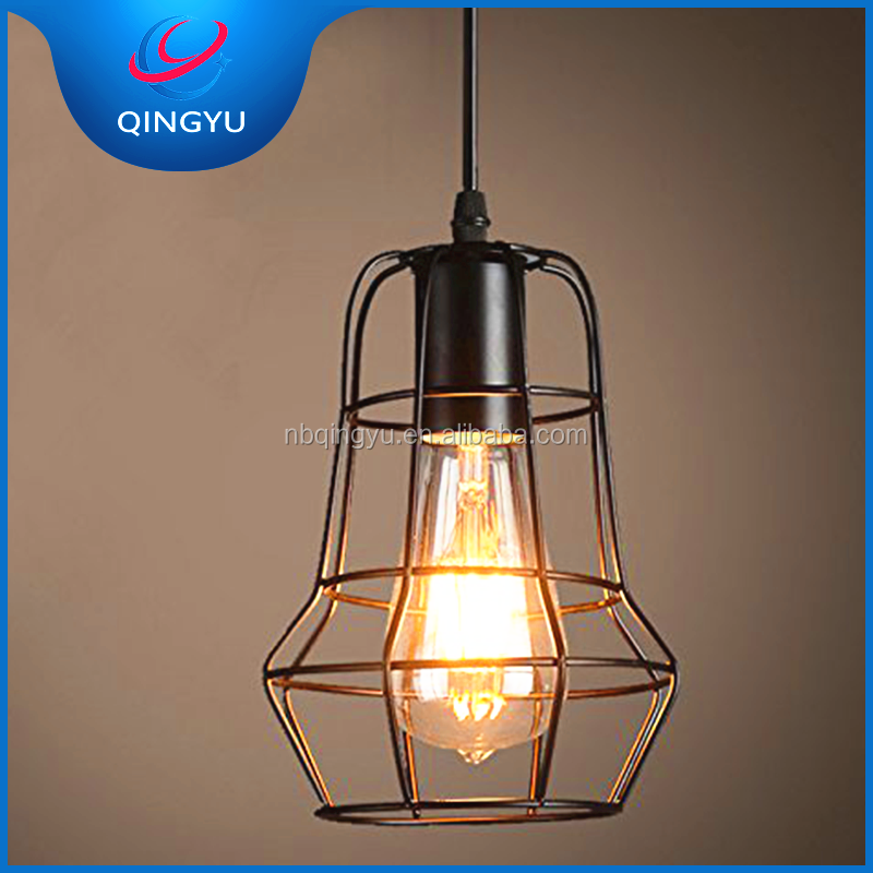 Antique Bird Cage Hanging Light Ventage Retro Painted Iron Pendant Light for Bathroom