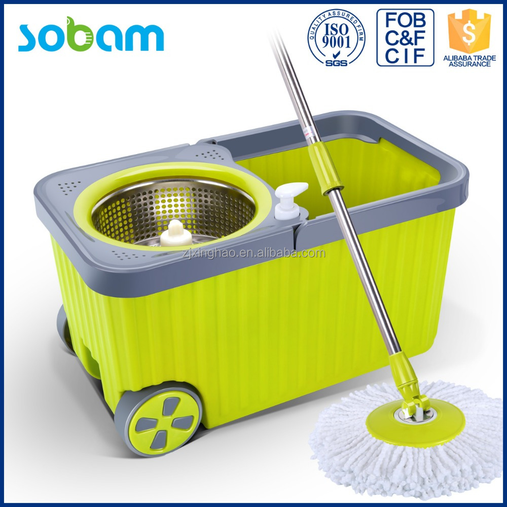 new product stainless steel basket microfiber spin mop