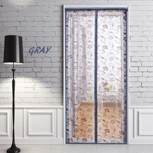 100*220CM GRAY Factory hot sale new design easy install lace yellow for anti mosquito magnetic screen mesh door curtain