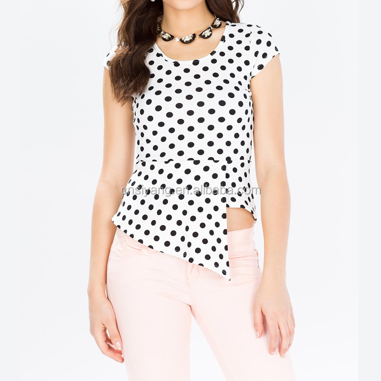 Round Neck Cap Sleeve 2015 hotsale ladies tops printed wave point blouses for women