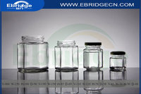 45ml 110ml 190ml 400ml clear hexagonal shaped glass jars with black cap for honey