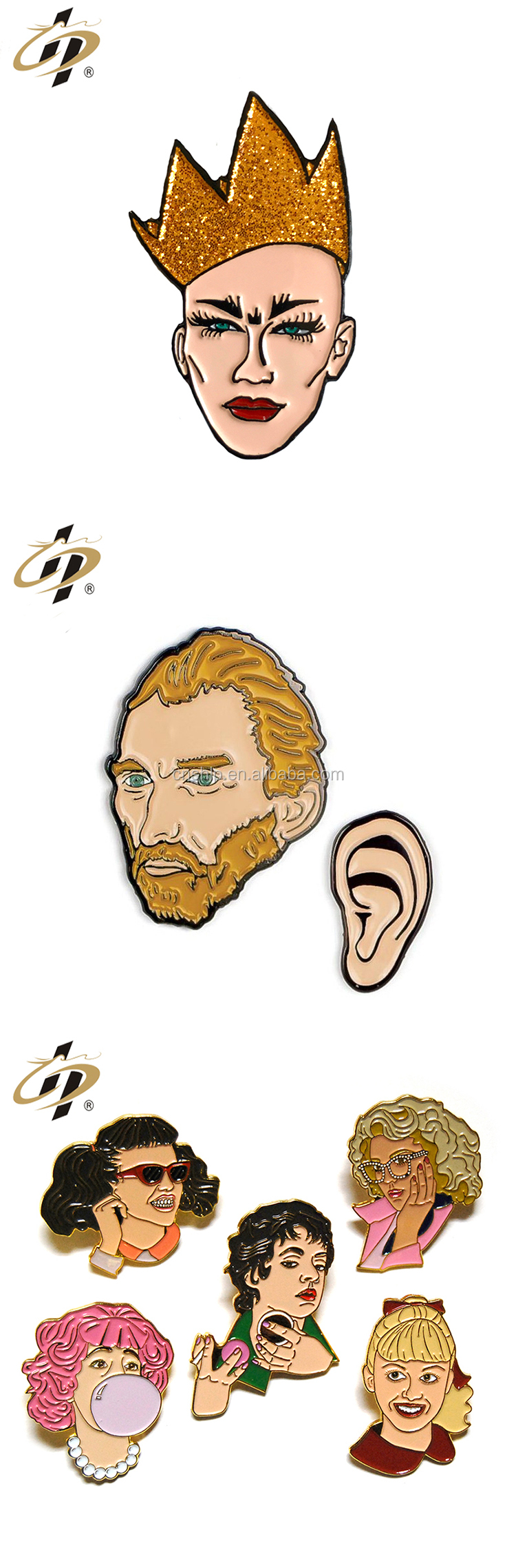 Custom cheap cartoon soft enamel head portrait lapel pins