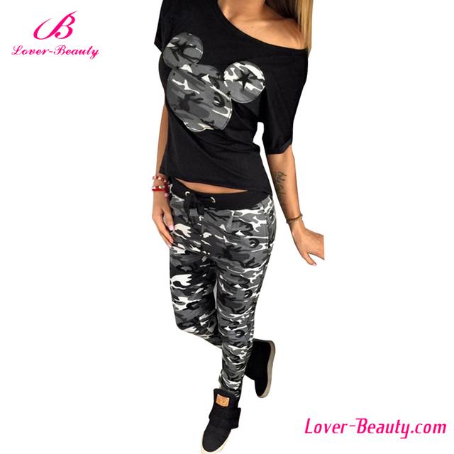 Short sleeve full pants camouflage women sport suit