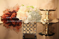 Wedding silver square crystal beaded candle holder centerpiece and flower stand for NO.C2015
