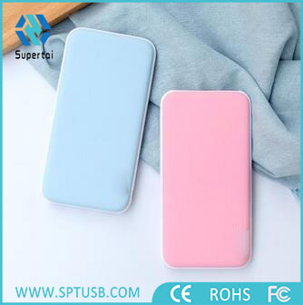 Ultra thin custom logo power bank plastic 5000mah slim power bank