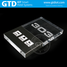 Customized High Thickness 230*175*25mm DND/MUR Crystal Acrylic + Stainless Frame Hotel Room Touch Doorplate System