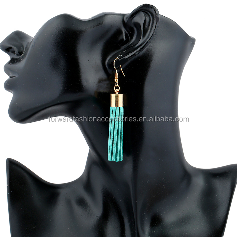 2017 Hot Korean Style Copper Tube Suede Tassel <strong>Earrings</strong>