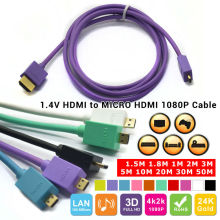Micro HDMI Cable 1.4 1.3 For Wii PS3 HDTV HD Player lucency ecderon head 5ft 6ft 10ft 15ft 30ft 1m 2m 3m 5m 10m 15m