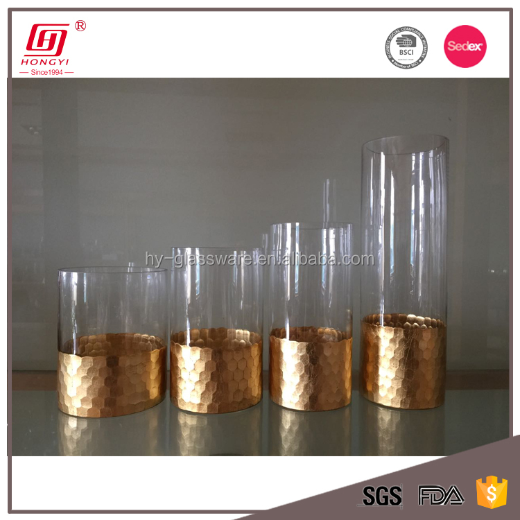 Wholesale Cheap Decorated Cylinder Glass Vase Tall Flower Glass Vase