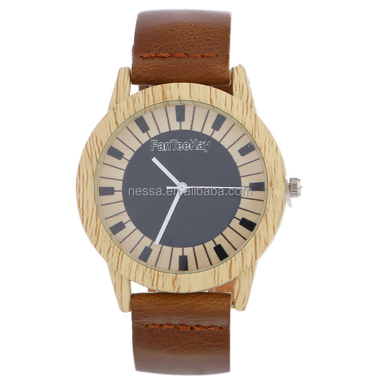 Fashion Leather ladies wood watch wholesale DYWH-0084