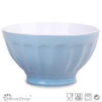 16cm two tone light blue ceramic bowl/bulk ceramic bowl/stoneware breakfast bowl
