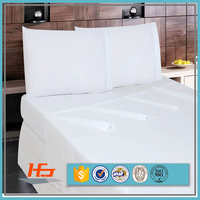 Bulk Sale Twin Size White Flat Bed Sheets for a Motel Polyester Cotton Material