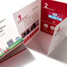 Promotional 7 inch Business Gift Paper Video Invitation Card Video Brochure