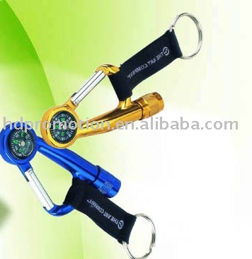 Aluminum Carabiner With LED Torch and Compass and Stripe Key Chains