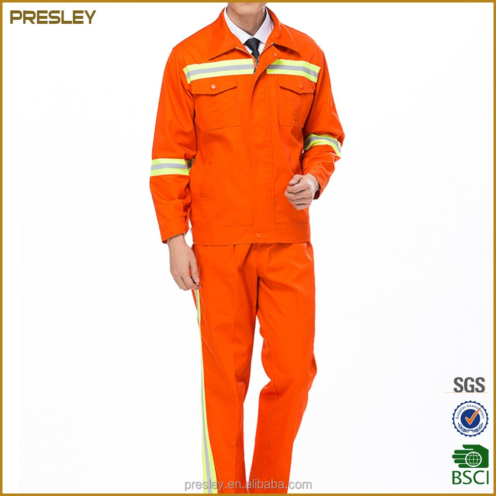 Outdoor long sleeve reflective stripe unisex protective uniforms workwear for builder, cleaner and road construction work
