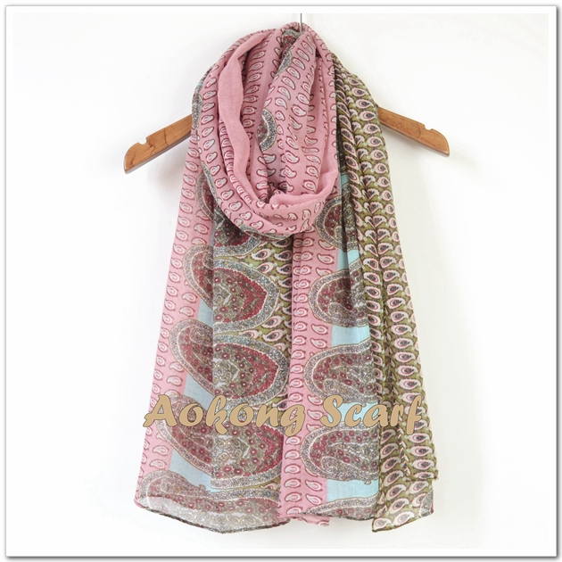Pink big and small paisley scarf