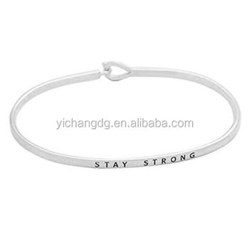 New Design Stainless Steel Women's Inspirational Thin Hook Bangle Bracelet Stay Strong
