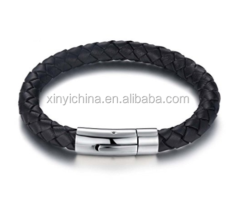 Mens Bracelet with Genuine Leather Stainless Steel Magnetic Clasp 8.5inch for Men womens