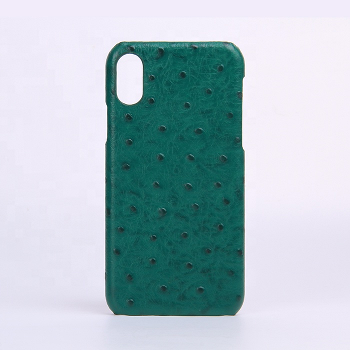 Custom embossed ostrich leather mobile phone case for iPhone 7/8/X