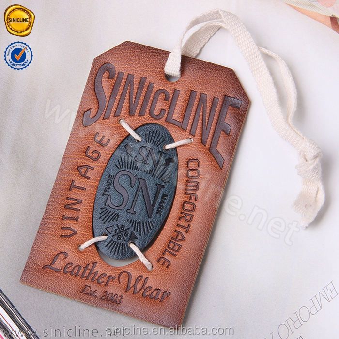 Sinicline 2017 new arrival debossed custom jeans paper hang tag with white rope