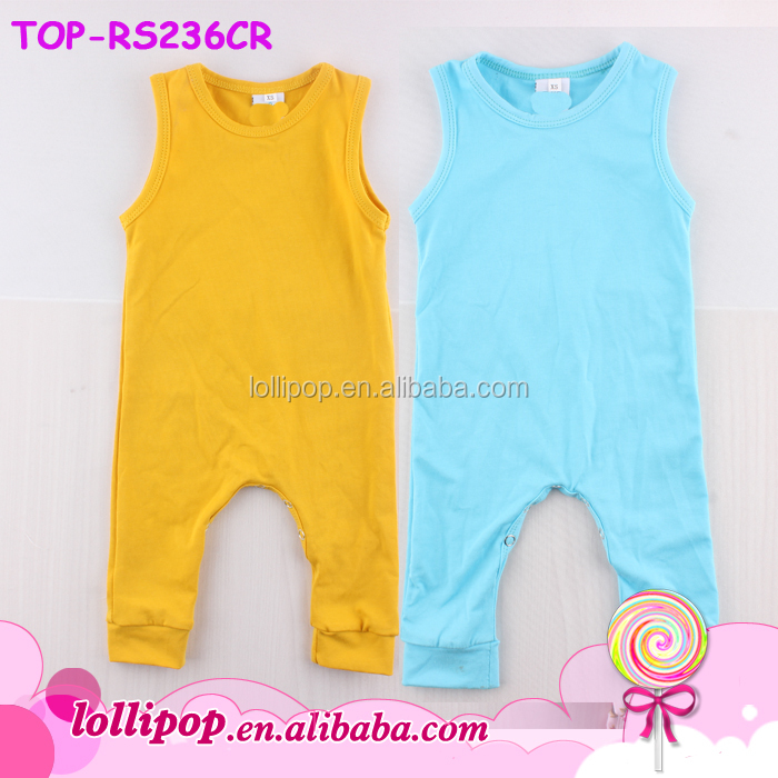Infant Toddler Jumpsuit Cotton Sleeveless Romper Sleep N Play Mustard Yellow Baby Onesie Wholesale Newborn Shortall Baby Boy