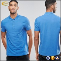 Ecoach 2016 men short sleeve button placket polo collar 100%cotton blue plain design polo shirt
