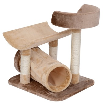 "29"" Cat Tree with Tunnel Bed and Scratching Post Soft Plush Feel - Brown"