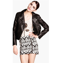 C10838B EUROPEAN NEWEST DESIGN FASHIONAL SKULL PATTERN PU WOMEN'S COAT/LEATHER JACKET