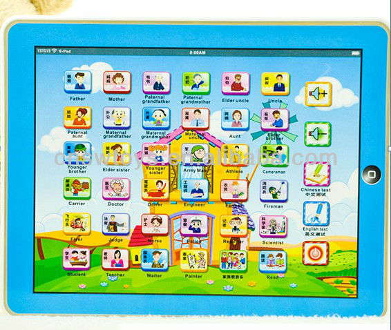 Flat touch speech learning machine Y-pad toys - five kind new knowledge in English langage SW8800308